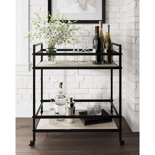 """Link to Waylowe Black Bar Cart - 28""""W x 14""""D x 32""""H Similar Items in Outdoor Coffee & Side Tables"""