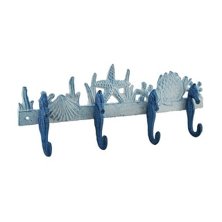 Blue and White Seahorses Sea Life Cast Iron Wall Hook - 6 X 15.25 X 2.25 inches