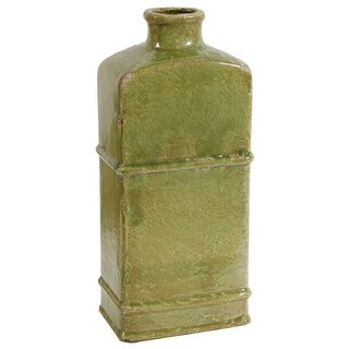 """14"""" Green Vintage Style Vase with Narrow Mouth"""