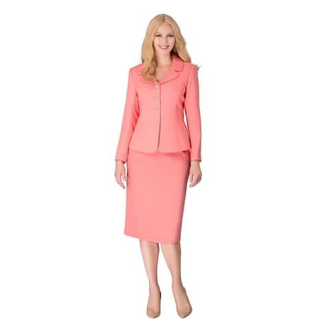 Giovanna Signature 2-piece Notch Collar 4-button Skirt Suit