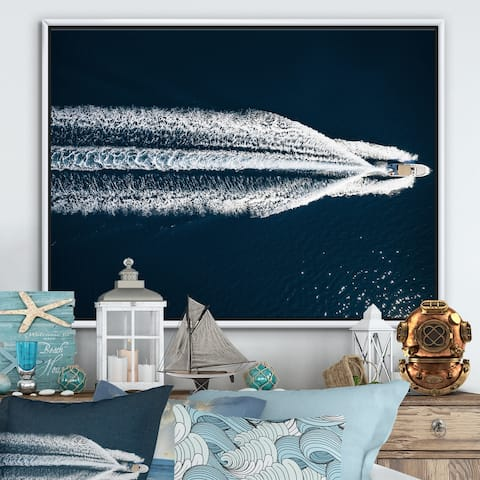 Designart 'Aerial View Of Speed Boat In Mediterranean Sea' Traditional Framed Canvas Wall Art Print