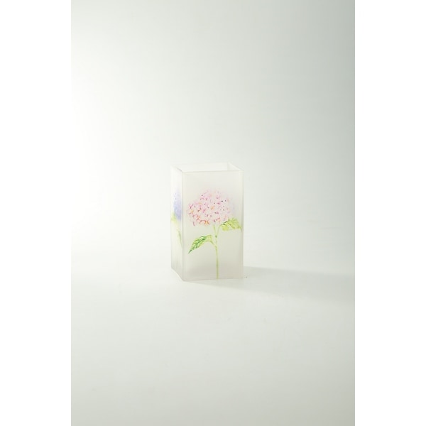 """6.5"""" Clear Floral Printed Square Flower Hand Blown Glass Vase - N/A"""