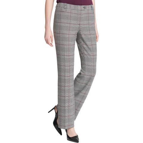 Calvin Klein Womens Dress Pants Glen Plaid Modern Fit