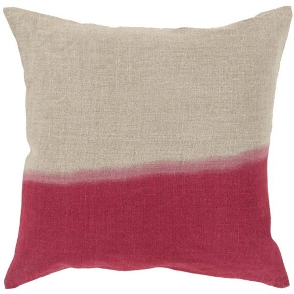 "20"" Cherry Red and Gray Dip Dyed Decorative Throw Pillow - Down Filler"