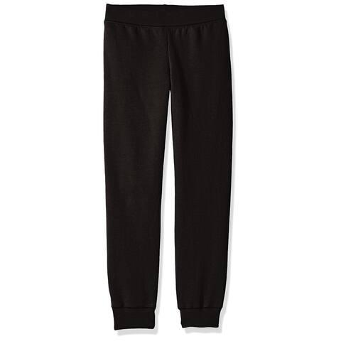 Hanes Girls Black Size Small S Fleece Elastic-Waistband Pants
