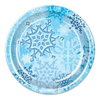 Club Pack of 96 Snow White, Sky and Cobalt Blue Snowflake Christmas Disposable Dinner Plates 9""