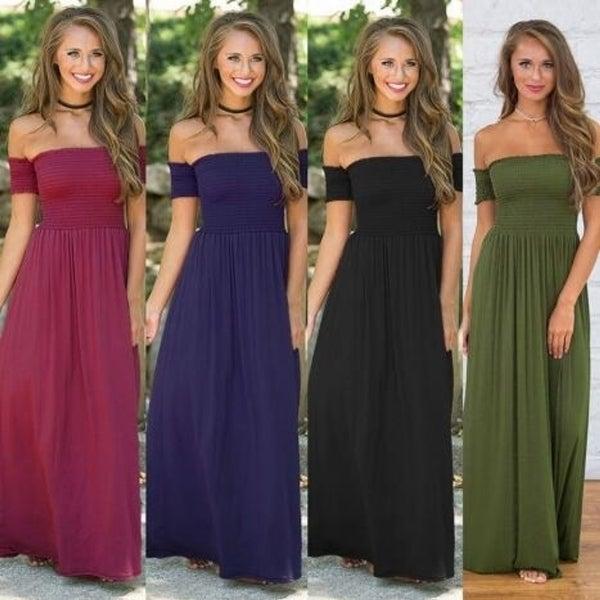 Ladies Solid Color Shoulder Long Dress. Opens flyout.