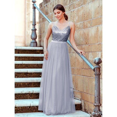 Ever-Pretty Womens Sequin Tulle Long Evening Prom Homecoming Party Dress 07392