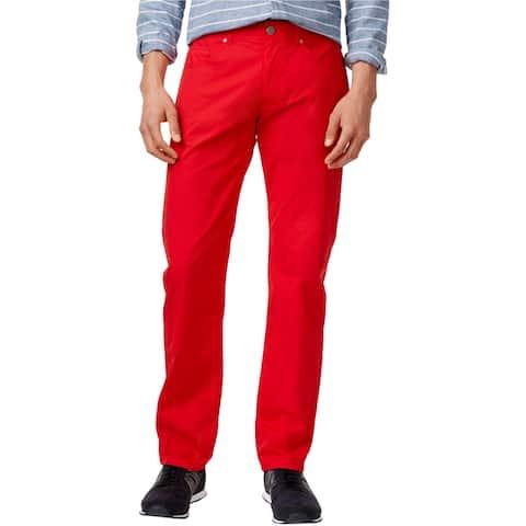 Armani Mens Straight-Fit Casual Chino Pants, Red, 33W x 32L - 33W x 32L