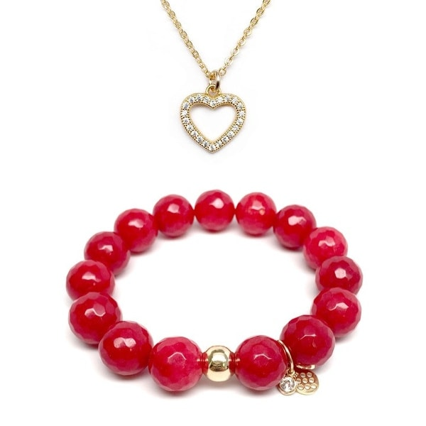 Red Quartz Bracelet & CZ Heart Gold Charm Necklace Set