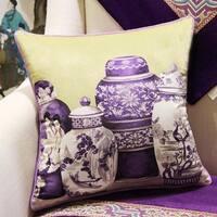 "Luxury Purple Four Vase Printing Pillow 18""X18"""