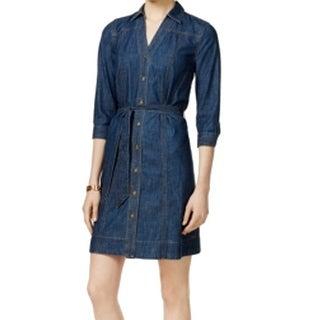 Tommy Hilfiger NEW Blue Women's Size XL Denim Belted Shirtdress