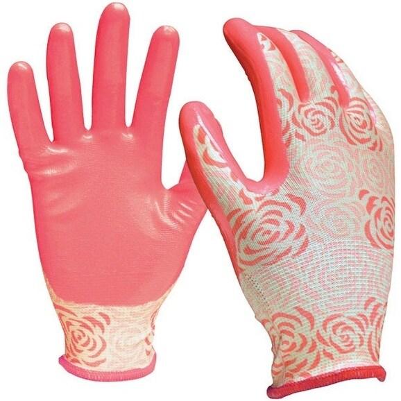 Digz 78353-26 Nitrile Garden Gloves, Medium/Large, Pink, 3/Pack. Opens flyout.