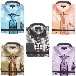 Men's Gingham Pattern Shirt with Tie Handkerchief Cufflinks