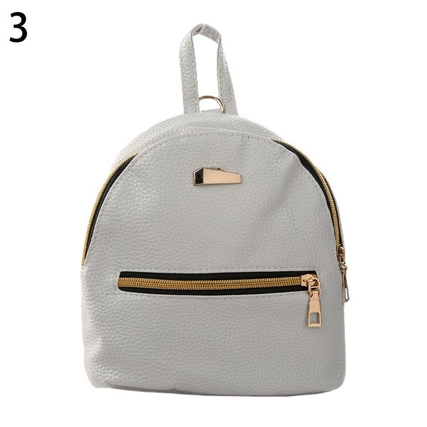 Black Faux Leather Mini Backpack Hand Bag Handbag Rucksack Girls School Bag