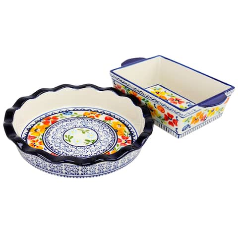 Gibson Luxembourg 10.5 inch Pie Dish and 10 inch Bakeware set in stoneware