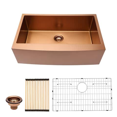 Gold Stainless Steel 36 in. Single Bowl Farmhouse Apron Mount Kitchen Sink with Accessories