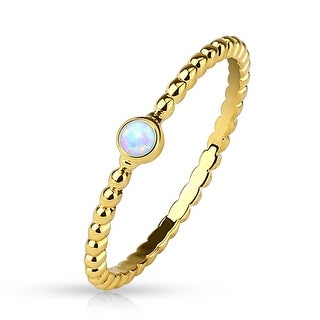 Opal 14Kt. Gold Plated Braided Stackable Ring/Mid Ring (Sold Ind.)