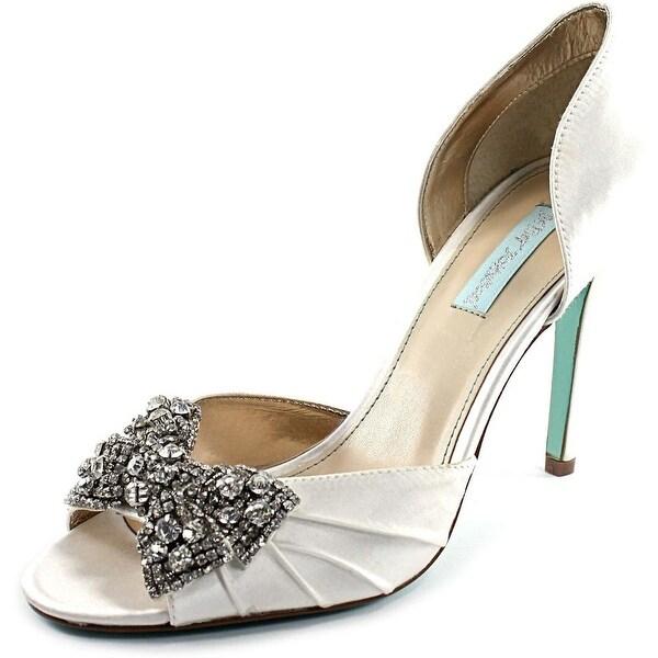 Betsey Johnson Gown Women Peep-Toe Canvas White Heels - Free ...