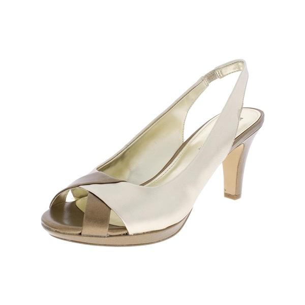 Anne Klein Womens Piran Slingback Heels Faux Leather Gold 8.5 Medium (B,M) - 8.5 medium (b,m)