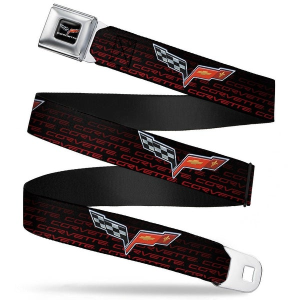 C6 Logo Corvette Repeat Black Red Ombre Seatbelt Belt Fashion Belt