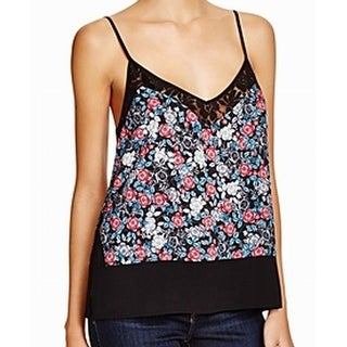 French Connection NEW Black Floral Print Women's Size 0 Tank Cami Top