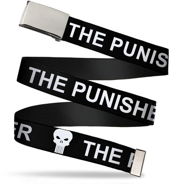 Blank Chrome Buckle The Punisher W Logo3 Black White Webbing Web Belt - S