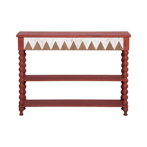 Foreside Home & Garden Distressed Red Tribal Pattern Wood Console Table