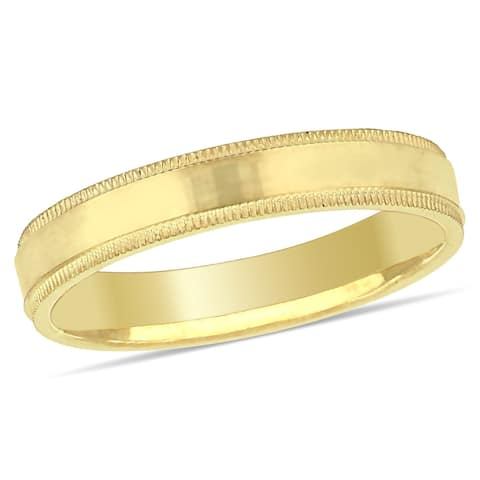 Miadora Ladies Fancy Textured Wedding Band in 10k Yellow Gold (3mm)