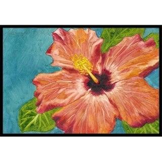 Carolines Treasures TMTR0316MAT Coral Hibiscus by Malenda Trick Indoor or Outdoor Mat 18 x 27