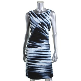 Ivanka Trump Womens Zip-Trim Printed Casual Dress