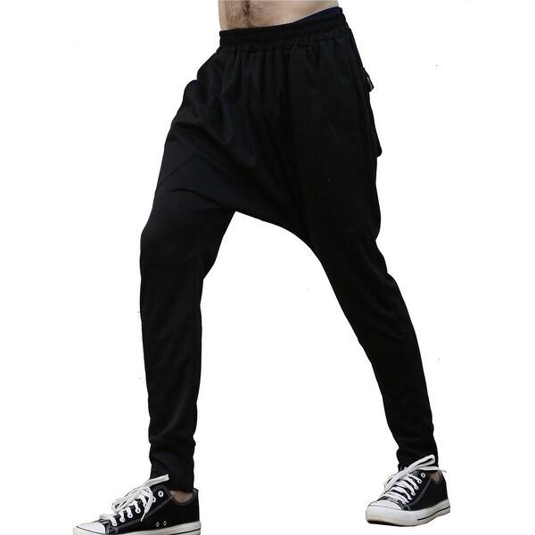 92794900f6c Shop Unique Bargains Men s Harem Style Elastic Waist Tape Pants - Black -  34 - On Sale - Free Shipping On Orders Over  45 - Overstock - 19893764