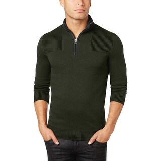INC International Concepts Evening Olive Green Quarter Zip Sweater Small S