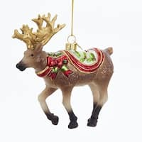 """Pack of 8 Red and Gold Colored Glass Decorative Reindeer Ornaments 5.5"""""""