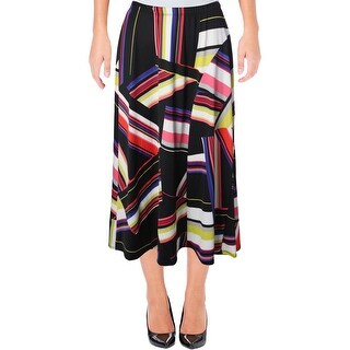 NY Collection Womens Petites A-Line Skirt Stretch Printed - pm