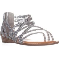 Carlos by Carlos Santana Amarillo Flat Strappy Sandals, Silver - 7 us / 37 eu