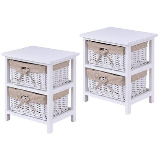 Gymax Set Of 2 Night Stand 2 Layer Bedside End Table Organizer