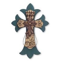 Pack of 2 Green and Brown Cross Wall Decor 23.75""