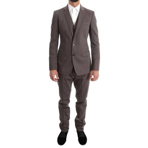 Dolce & Gabbana Beige Cotton Slim Fit Two Button Men's Suit