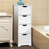 Gymax Bathroom Floor Cabinet Wooden Free Standing Storage Side Organizer W/4 Drawers