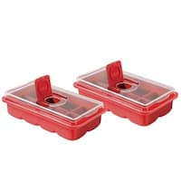 No Spill Extra Large Ice Cube Tray Set of 2 - Covered Lid Design - Red