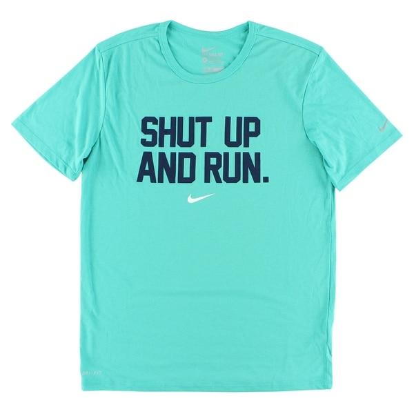 30ff308d7 Shop Nike Mens Shut Up and Run Dri FIT T Shirt Aqua Blue - Free Shipping  Today - Overstock - 22615889