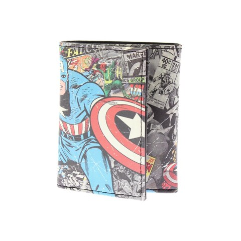 Marvel Mens Captain America Trifold Wallet Faux Leather Graphic - o/s