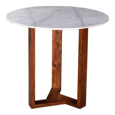 Aurelle Home Jayda Modern Marble and Acacia Wood Round Counter Table