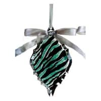 "5.75"" Glittered Teal Zebra Print Diamond Prism Christmas Ornament - green"