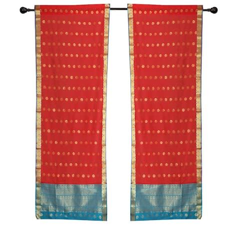 2 Spicy Red Bohemian Sari Curtains Rod Pocket Living Room Window Treatment