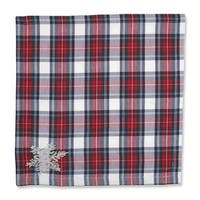 """Set of 2 Christmas Snowflakes Red, Green and Silver Plaid Decorative Napkins 18"""""""