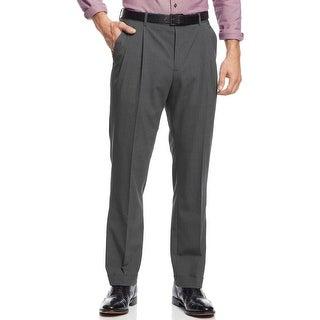 Nautica Mens Mini Houndstooth Pleated Pants 32x32 Charcoal Trousers