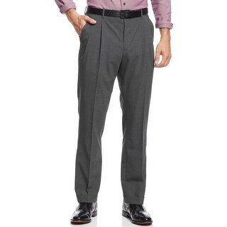 Nautica Mens Mini Houndstooth Pleated Pants 33x30 Charcoal Trousers