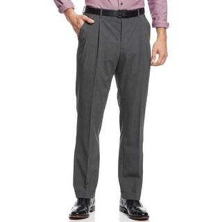 Nautica Mens Mini Houndstooth Pleated Pants 36x32 Charcoal Trousers